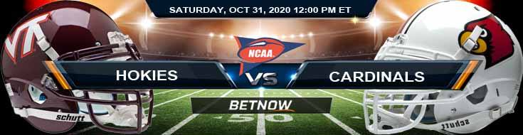 Virginia Tech Hokies vs Louisville Cardinals 10-31-2020 NCAAF Predictions Picks & Previews
