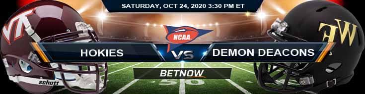 Virginia Tech Hokies vs Wake Forest Demon Deacons 10-24-2020 NCAAF Tips Results & Predictions
