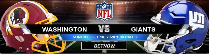 Washington Football Team vs New York Giants 10-18-2020 Analysis NFL Results and Football Betting