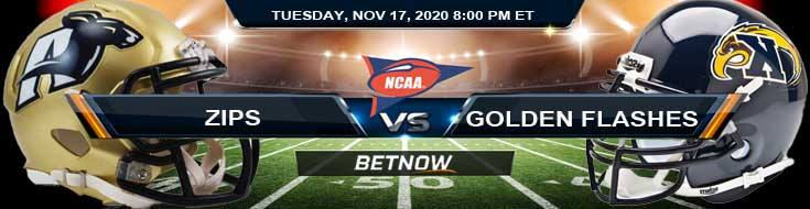 Akron Zips vs Kent State Golden Flashes 11-17-2020 Football Betting Picks & NCAAF Tips