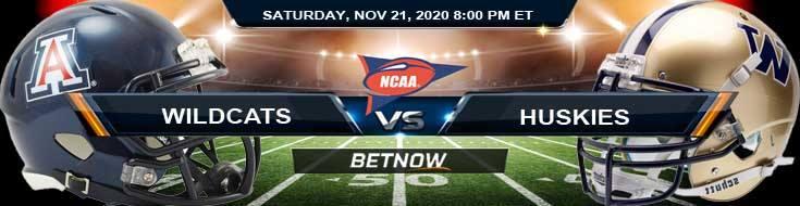 Arizona Wildcats vs Washington Huskies 11-21-2020 NCAAF Tips Predictions & Odds