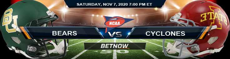 Baylor Bears vs Iowa State Cyclones 11-07-2020 NCAAF Tips Results & Predictions