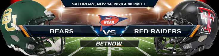 Baylor Bears vs Texas Tech Red Raiders 11-14-2020 NCAAF Previews Odds & Spread