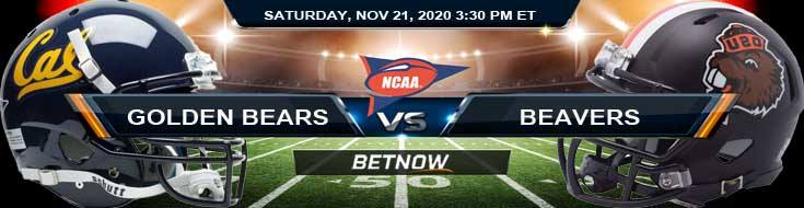 California Golden Bears vs Oregon State Beavers 11-21-2020 NCAAF Previews Picks & Spread