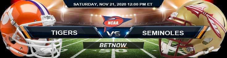 Clemson Tigers vs Florida State Seminoles 11-21-2020 NCAAF Previews Tips & Results