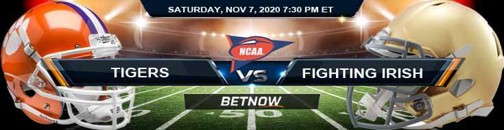 Clemson Tigers vs Notre Dame Fighting Irish 11-07-2020 NCAAF Forecast Tips and Game Analysis