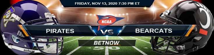 East Carolina Pirates vs Cincinnati Bearcats 11-13-2020 NCAAF Previews Spread & Game Analysis