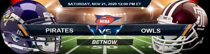 East Carolina Pirates vs Temple Owls 11-21-2020 NCAAF Odds Previews & Tips