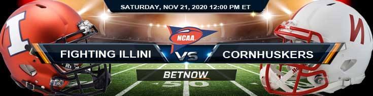 Illinois Fighting Illini vs Nebraska Cornhuskers 11-21-2020 NCAAF Forecast, Odds & Spread