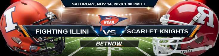 Illinois Fighting Illini vs Rutgers Scarlet Knights 11-14-2020 NCAAF Odds Previews & Tips