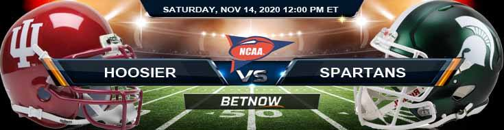 Indiana Hoosiers vs Michigan State Spartans 11-14-2020 NCAAF Predictions Odds & Previews