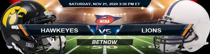 Iowa Hawkeyes vs Penn State Nittany Lions 11-21-2020 NCAAF Spread Picks & Previews