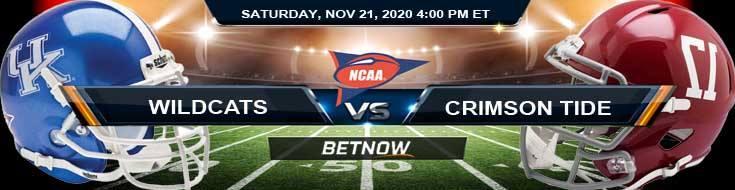 Kentucky Wildcats vs Alabama Crimson Tide 11-21-2020 NCAAF Predictions Picks & Previews