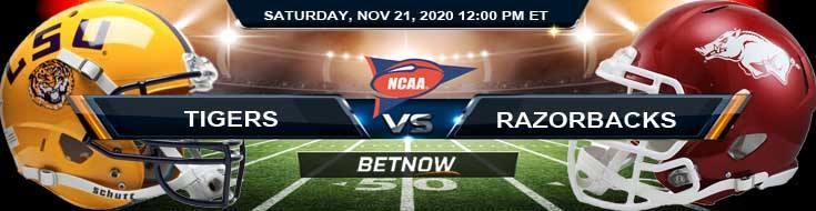LSU Tigers vs Arkansas Razorbacks 11-21-2020 NCAAF Results Odds & Predictions