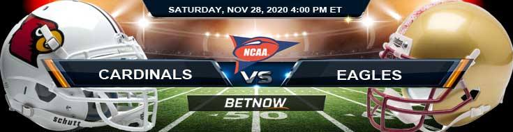 Louisville Cardinals vs Boston College Eagles 11-28-2020 NCAAF Odds Previews & Tips