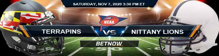 Maryland Terrapins vs Penn State Nittany Lions 11-07-2020 NCAAF Odds Previews & Tips