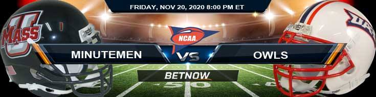 Massachusetts Minutemen vs Florida Atlantic Owls 11-20-2020 Tips, NCAAF Odds & Picks