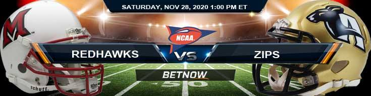 Miami-OH RedHawks vs Akron Zips 11-28-2020 NCAAF Previews Picks & Spread