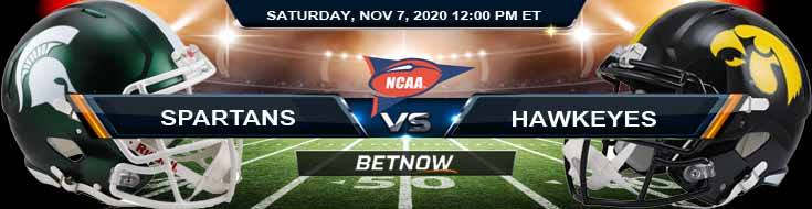 Michigan State Spartans vs Iowa Hawkeyes 11-07-2020 NCAAF Results Odds & Predictions