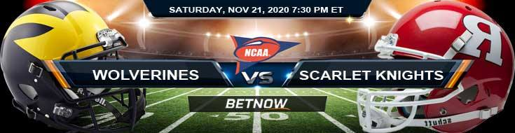 Michigan Wolverines vs Rutgers Scarlet Knights 11-21-2020 NCAAF Predictions Previews & Spread