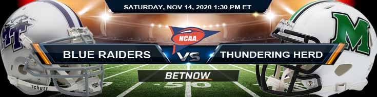 Middle Tennessee Blue Raiders vs Marshall Thundering Herd 11-14-2020 NCAAF Picks Predictions & Previews