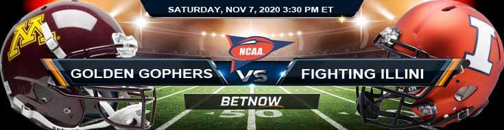Minnesota Golden Gophers vs Illinois Fighting Illini 11-07-2020 NCAAF Previews Odds & Spread