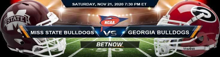 Mississippi State Bulldogs vs Georgia Bulldogs 11-21-2020 NCAAF Odds Picks & Predictions