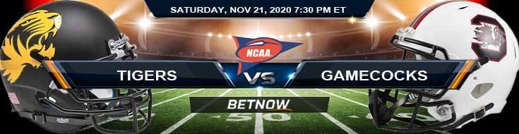 Missouri Tigers vs South Carolina Gamecocks 11-21-2020 Previews, Spread & NCAAF Odds