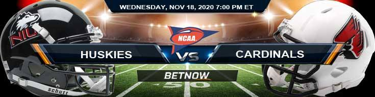 NIU Huskies vs Ball State Cardinals 11-18-2020 Previews Spread & NCAAF Odds