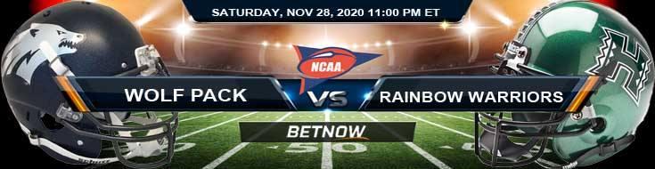 Nevada Wolf Pack vs Hawaii Rainbow Warriors 11-28-2020 NCAAF Predictions, Odds & Previews