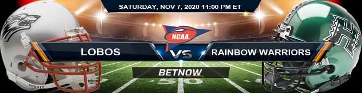 New Mexico Lobos vs Hawaii Rainbow Warriors 11-07-2020 NCAAF Spread Picks & Previews