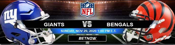 New York Giants vs Cincinnati Bengals 11-29-2020 Results Football Betting and Odds