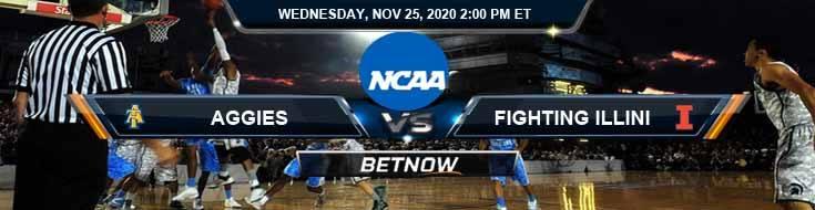 North Carolina A&T Aggies vs Illinois Fighting Illini 11-25-2020 Picks Predictions and Previews