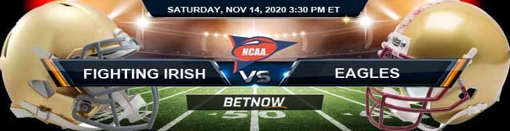 Notre Dame Fighting Irish vs Boston College Eagles 11-14-2020 NCAAF Tips Predictions & Odds