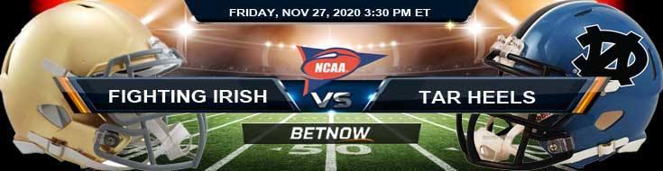 Notre Dame Fighting Irish vs North Carolina Tar Heels 11-27-2020 NCAAF Previews Spread & Game Analysis