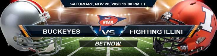 Ohio State Buckeyes vs Illinois Fighting Illini 11-28-2020 Previews Spread & NCAAF Odds