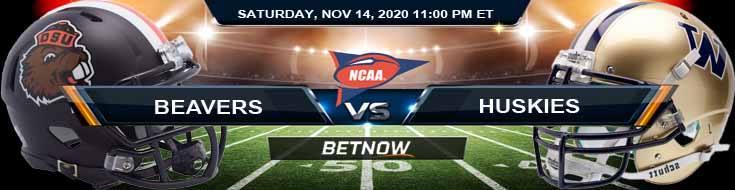 Oregon State Beavers vs Washington Huskies 11-14-2020 NCAAF Previews, Tips & Game Analysis