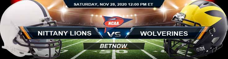 Penn State Nittany Lions vs Michigan Wolverines 11-28-2020 NCAAF Odds Picks & Predictions