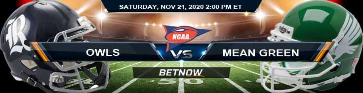 Rice Owls vs North Texas Mean Green 11-21-2020 Previews Tips & NCAAF Analysis