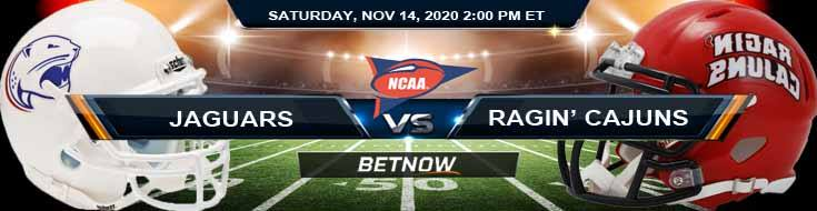 South Alabama Jaguars vs Louisiana-Lafayette Ragin' Cajuns 11-14-2020 Tips NCAAF Odds & Picks