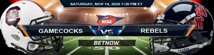 South Carolina Gamecocks vs Ole Miss Rebels 11-14-2020 Football Betting Picks & NCAAF Tips