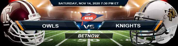 Temple Owls vs UCF Knights 11-14-2020 NCAAF Odds Picks & Predictions