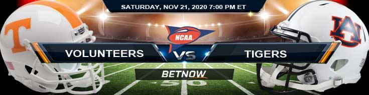 Tennessee Volunteers vs Auburn Tigers 11-21-2020 NCAAF Forecast Odds & Spread