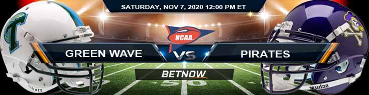 Tulane Green Wave vs East Carolina Pirates 11-07-2020 NCAAF Results Odds & Predictions