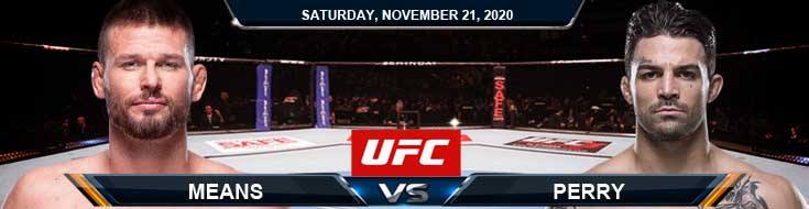 UFC 255 Means vs Perry 11-21-2020 Predictions Previews and Spread