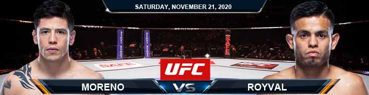 UFC 255 Moreno vs Royval 11-21-2020 Predictions Previews and Spread