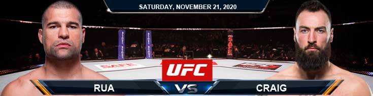 UFC 255 Rua vs Craig 11-21-2020 Previews Spread and Fight Analysis