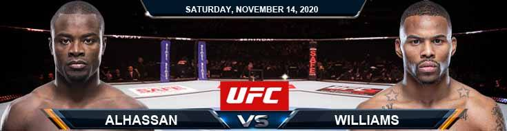 UFC Fight Night 183 Alhassan vs Williams 11-14-2020 Odds Picks and Predictions