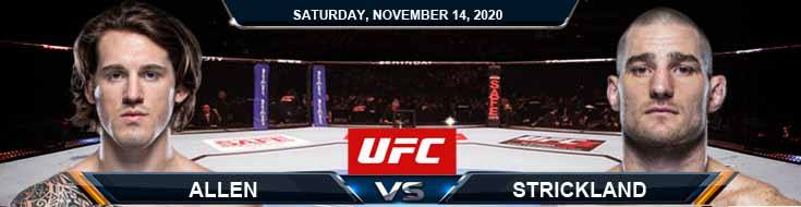 UFC Fight Night 183 Allen vs Strickland 11-14-2020 Fight Analysis Forecast and Tips