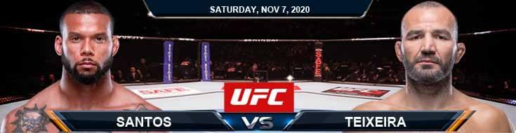UFC on ESPN 17 Santos vs Teixeira 11-07-2020 Odds Picks and Predictions